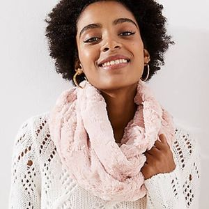 LOFT Outlet Faux Fur Pink Infinity Scarf